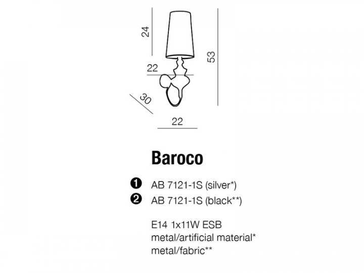 Бра AZzardo BAROCO AZ0062 (AB71211SBK)