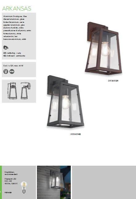Настінний вуличний світильник TRIO ARKANSAS 201360124