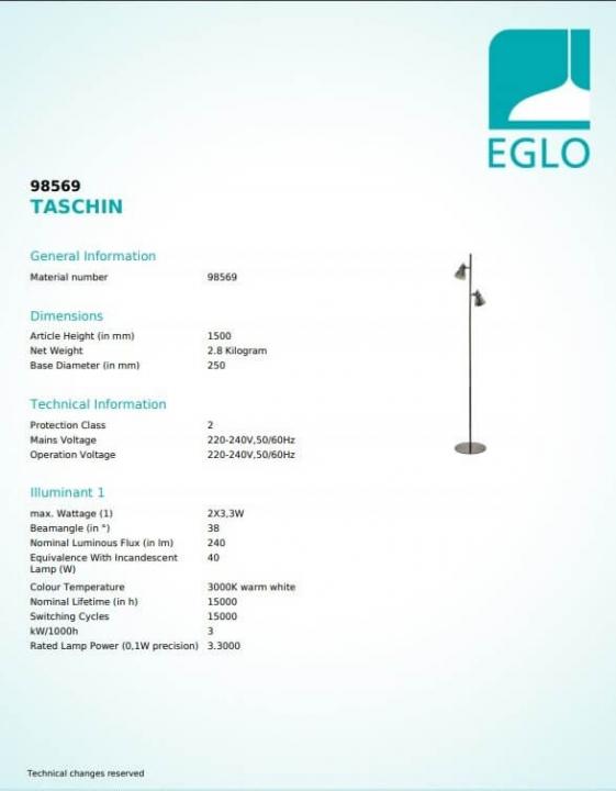 Торшер Eglo TASCHIN 98569