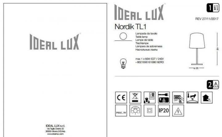 Настільна лампа Ideal Lux NORDIK 161686