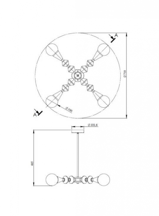 Люстра Pikart Dome V4 horizontal 24893-5