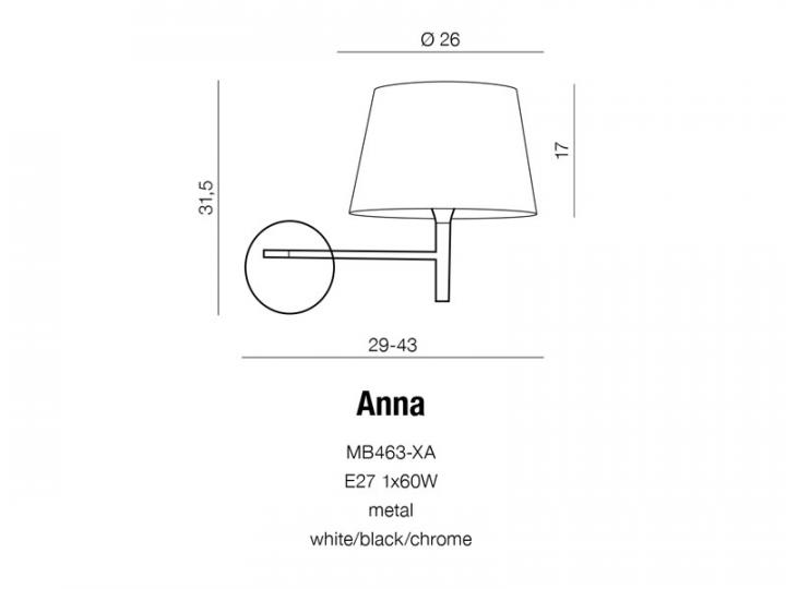Бра AZzardo ANNA AZ1519 (MB463XAWHBKCH )