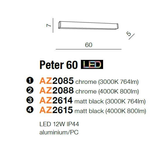 Бра AZzardo PETER 60 3000K AZ2614