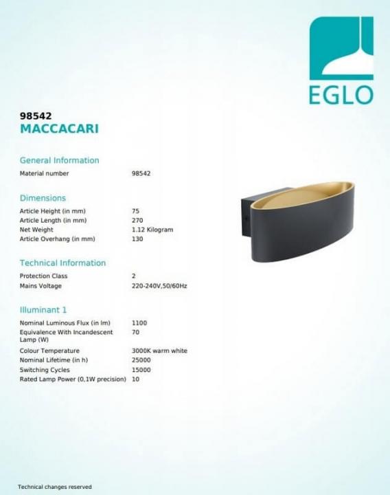 Бра Eglo MACCACARI 98542