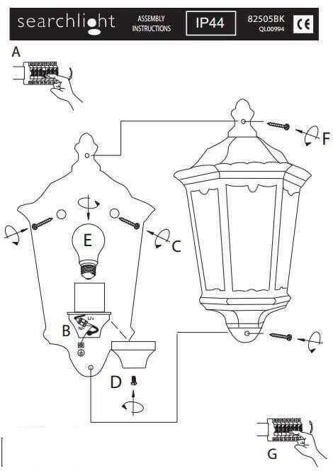 Настінний вуличний світильник Searchlight ALEX 82505BK