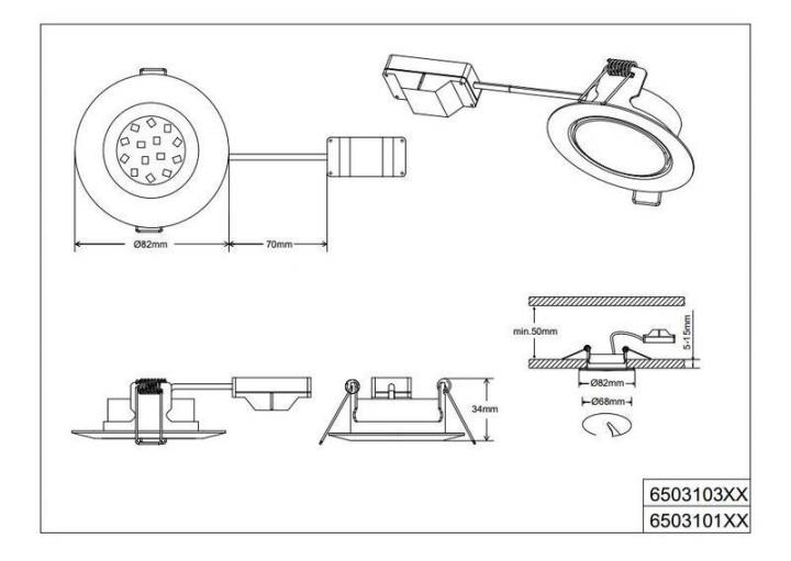 Точечный светильник TRIO Rila 650310307