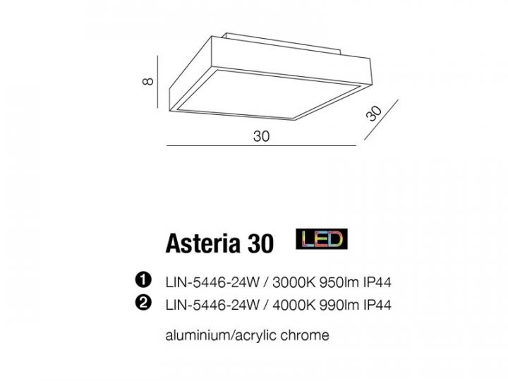 Потолочный светильник AZzardo ASTERIA 30 AZ2477 (LIN544624W4000 IP44)