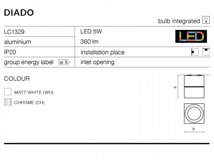 Точечный светильник AZzardo DIADO AZ1454 (LC1329WH)