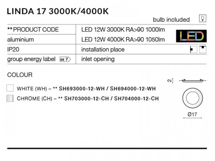 Точечный светильник AZzardo LINDA 17 AZ2243 (SH70400012CH)