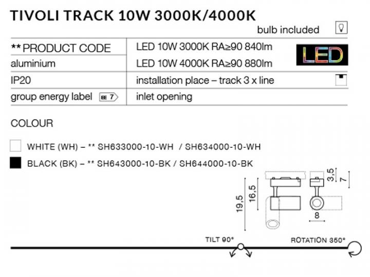 Трековый светильник AZzardo TIVOLI TRACK AZ2223 (SH63400010WH)