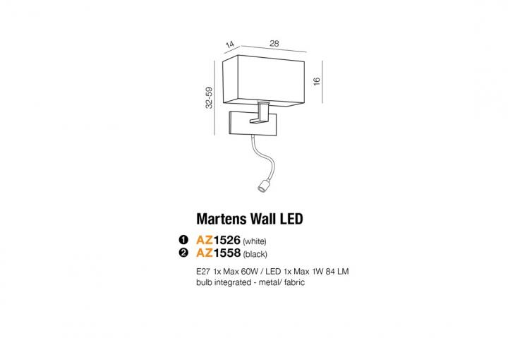 Бра AZzardo MARTENS LED AZ1526 (MB2251BLEDRWH )