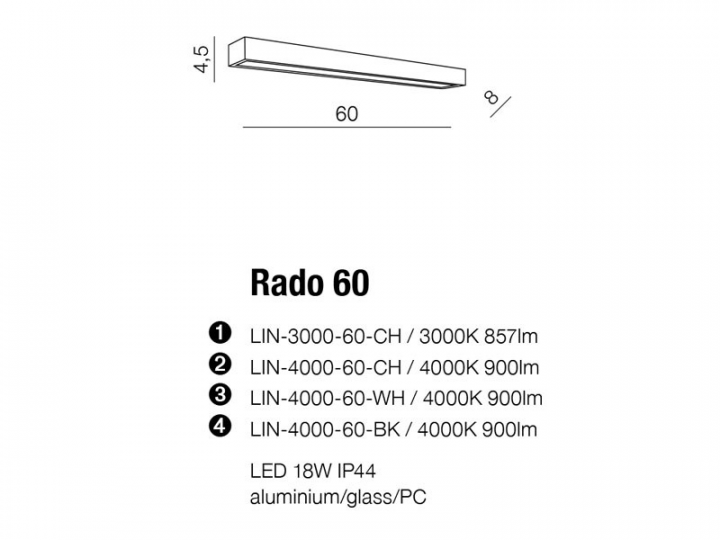 Бра AZzardo RADO 60 AZ2079 (LIN400060CH )