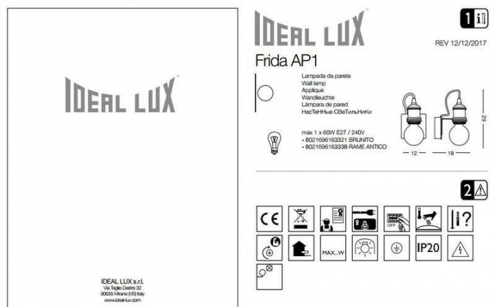 Бра Ideal Lux FRIDA 163338