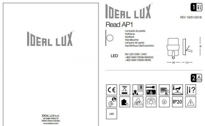 Бра Ideal Lux READ 176550
