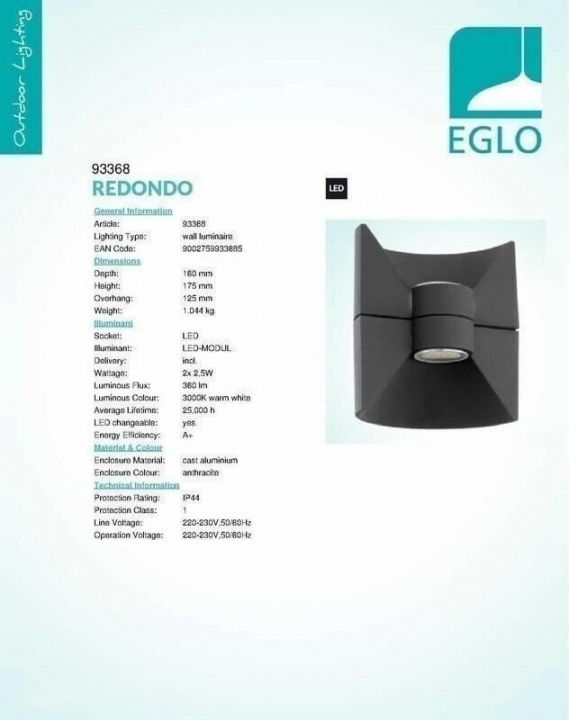 Настінний вуличний світильник Eglo REDONDO 93368