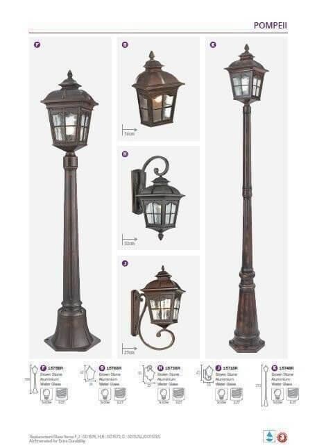Настінний вуличний світильник Searchlight POMPEII 1576BR