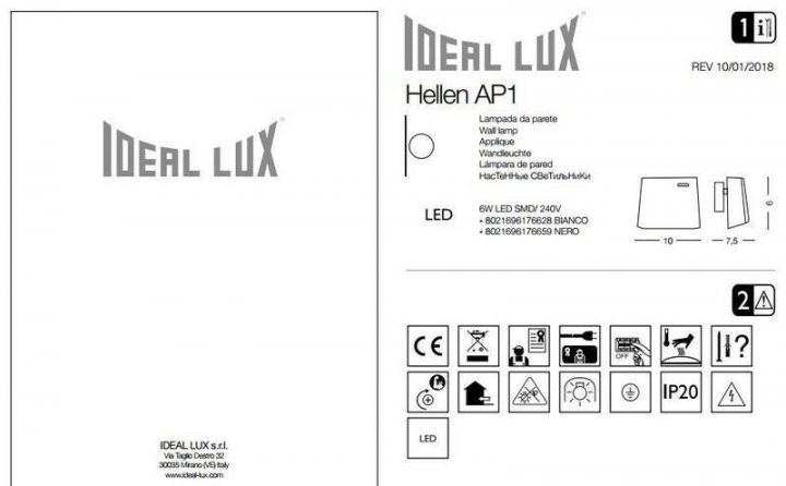 Бра Ideal Lux HELLEN 176628