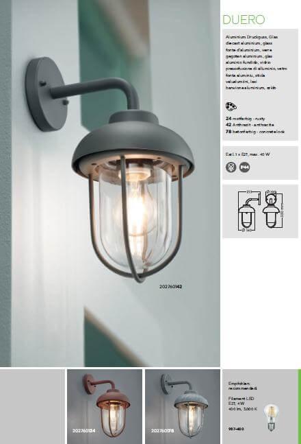 Настінний вуличний світильник TRIO DUERO 202760142