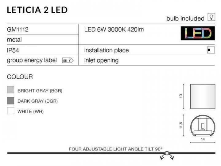 Бра AZzardo LETICIA 2 LED AZ2190