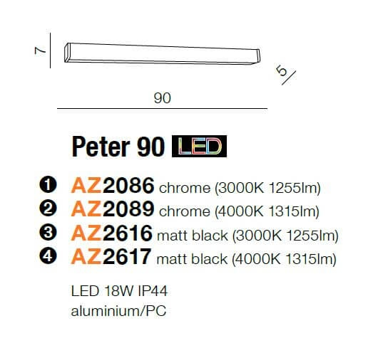 Бра AZzardo PETER 90 4000K AZ2617