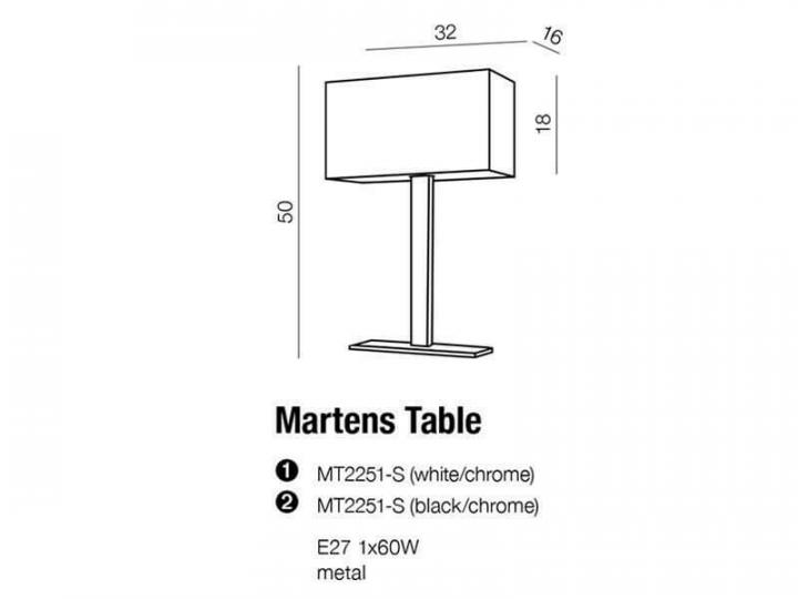 Настільна лампа AZzardo MARTENS AZ1559 (MT2251SBK)