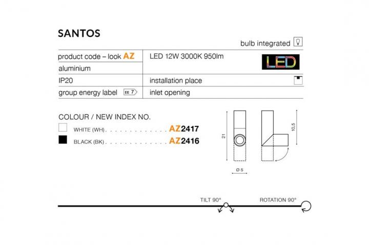 Трековый светильник AZzardo SANTOS TRACK AZ2925