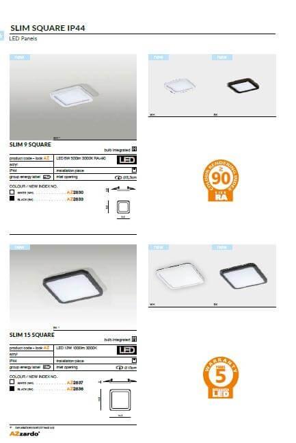 Точечный светильник AZzardo SLIM 15 SQUARE IP44 3000K AZ2837