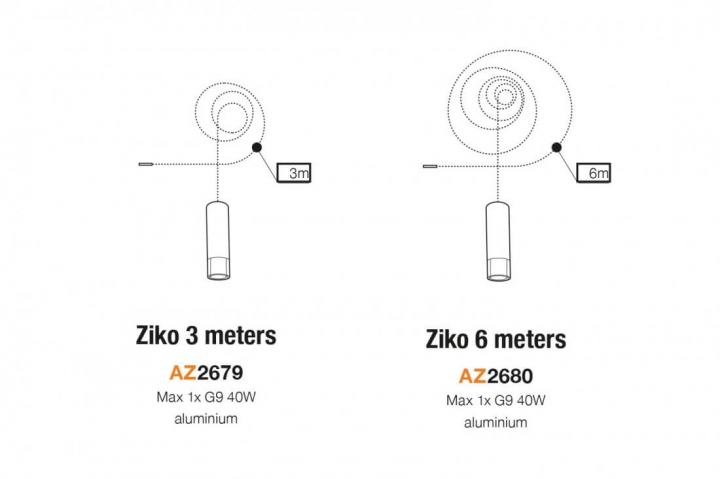 Патрон зі шнуром AZzardo ZIKO G9 6 meters AZ3458