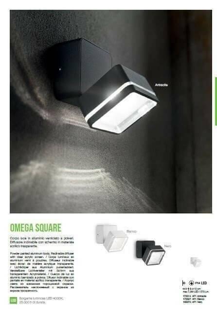 Настінний вуличний світильник Ideal Lux OMEGA SQUARE 172514