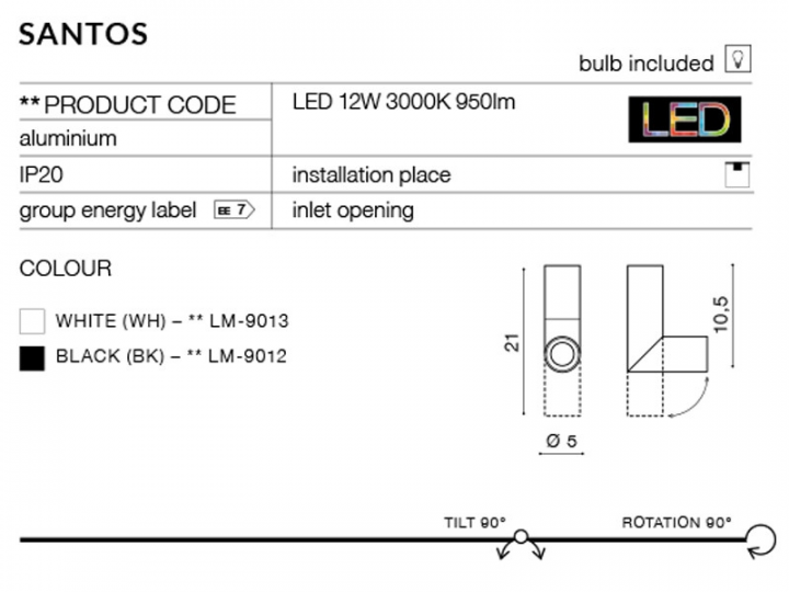Точечный светильник AZzardo SANTOS AZ2416 (LM9013BK)