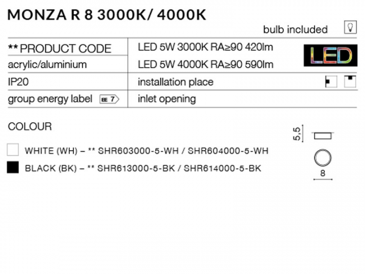 Точечный светильник AZzardo MONZA R 8 AZ2254 (SHR6140005BK)