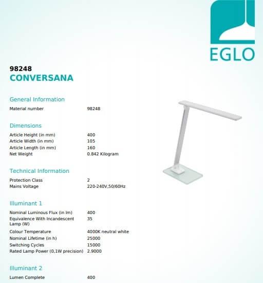 Настільна лампа Eglo CONVERSANA 98248