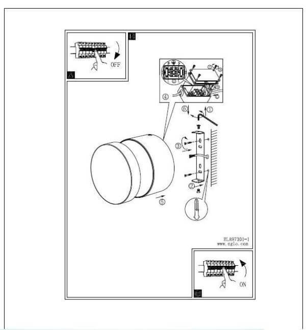 Настінний вуличний світильник Eglo MELZO 97301