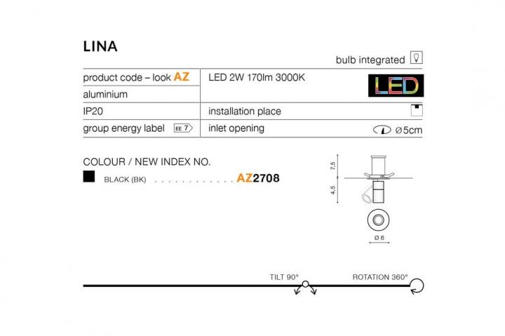 Точечный светильник AZzardo LINA AZ2708