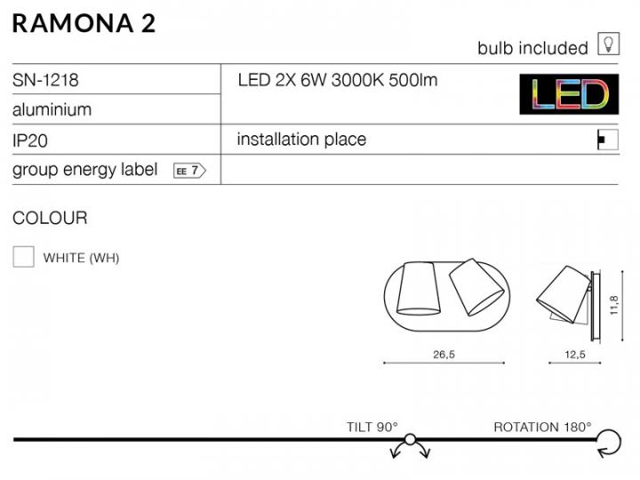 Бра AZzardo RAMONA 2 AZ2429 (SN1218WH)