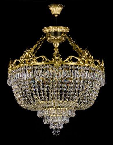 Люстра ArtGlass CORINA II. (POLISHED, BRASS ANTIQUE, WHITE GOLD, MATT BRASS) CE