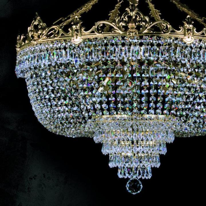 Люстра ArtGlass CORINA III. (POLISHED, BRASS ANTIQUE, WHITE GOLD, MATT BRASS) CE