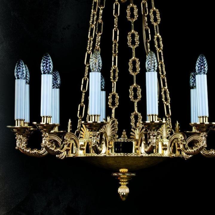Люстра ArtGlass EGONA (POLISHED, BRASS ANTIQUE, WHITE GOLD, MATT BRASS)