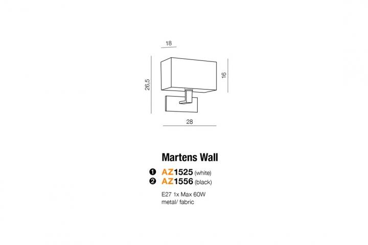 Бра AZzardo MARTENS AZ1556 (MB2251BE27BK )