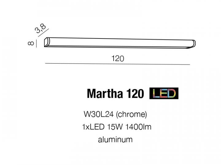 Бра AZzardo MARTHA 120 AZ1682 (W30L24CH)