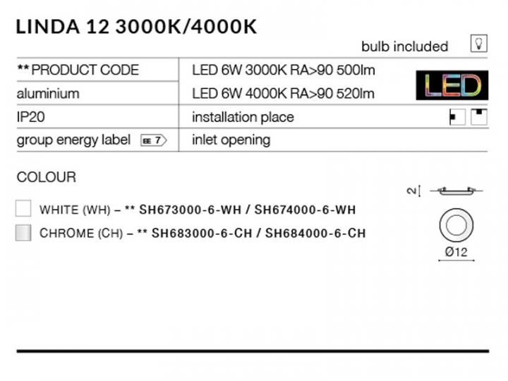 Точечный светильник AZzardo LINDA 12 AZ2239 (SH6840006CH)