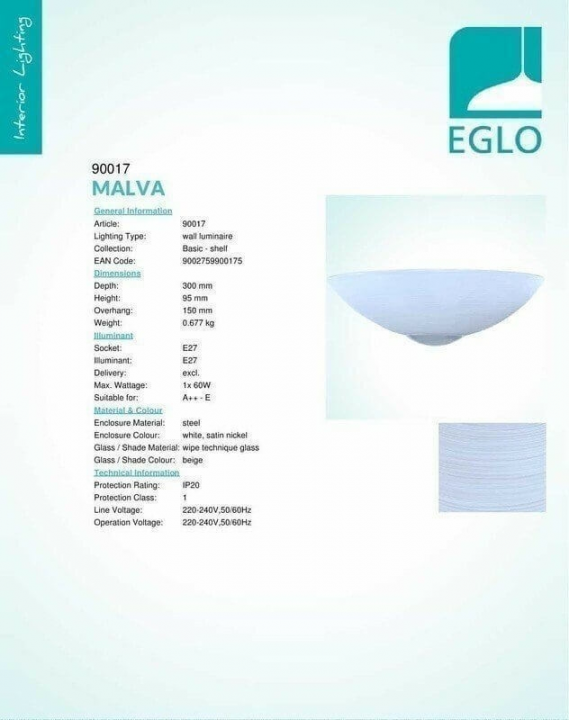 Бра Eglo MALVA 90017
