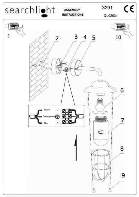 Настінний вуличний світильник Searchlight TORONTO 3291BK