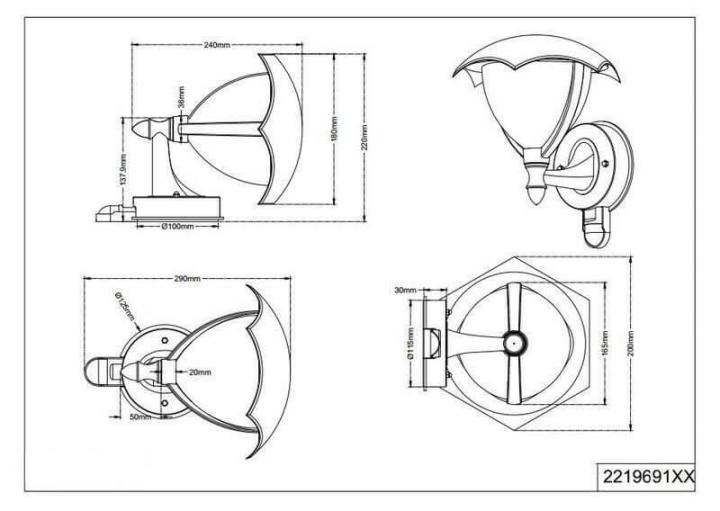 Настінний вуличний світильник TRIO GRACHT 221969128