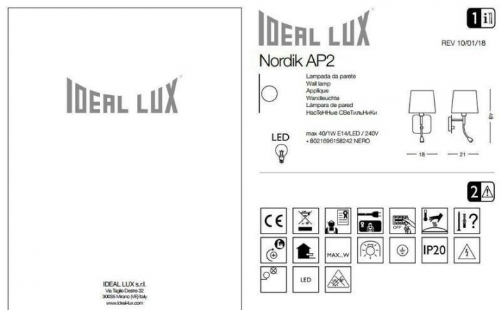 Бра Ideal Lux NORDIK 158242