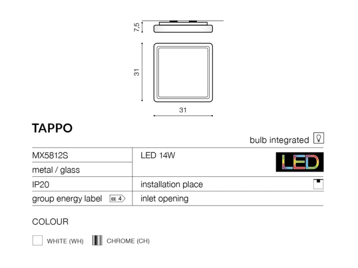 Потолочный светильник AZzardo TAPPO AZ0754 (MX5812SCH)