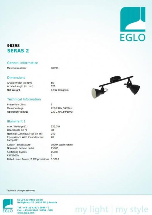 Потолочный светильник Eglo SERAS 2 98398
