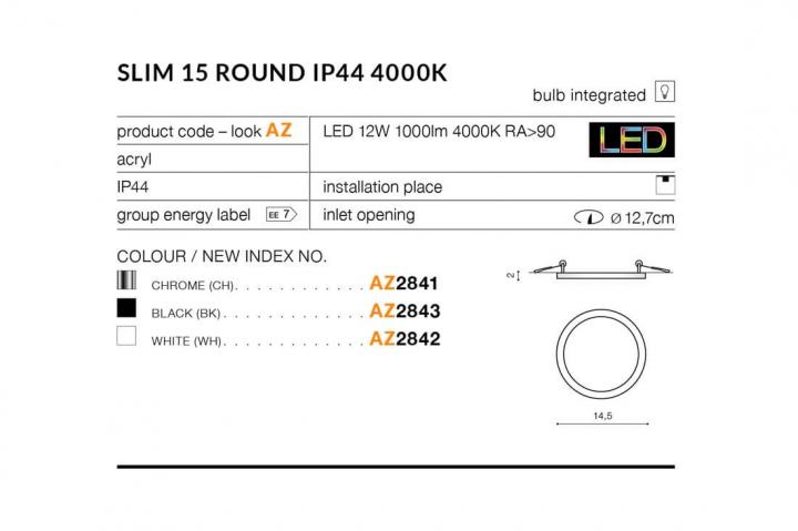 Точечный светильник AZzardo SLIM 15 ROUND IP44 4000K AZ2841