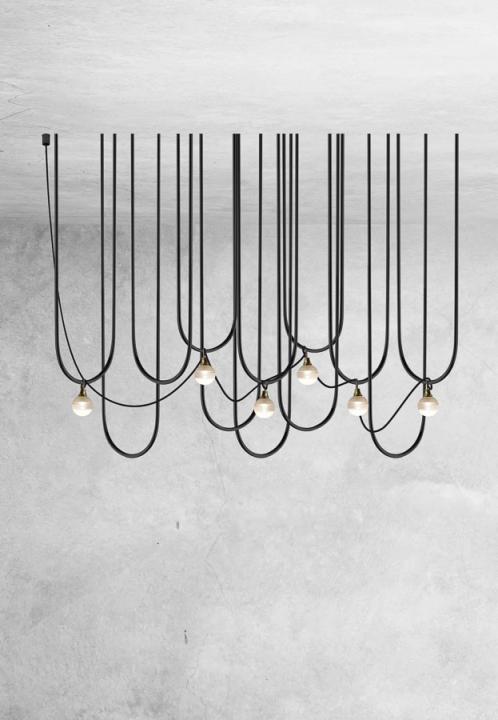 Люстра UDIN (black/ brass) 9713