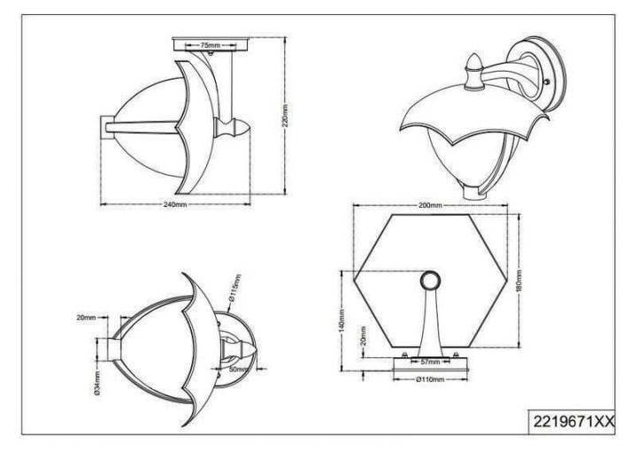 Настінний вуличний світильник TRIO GRACHT 221967128